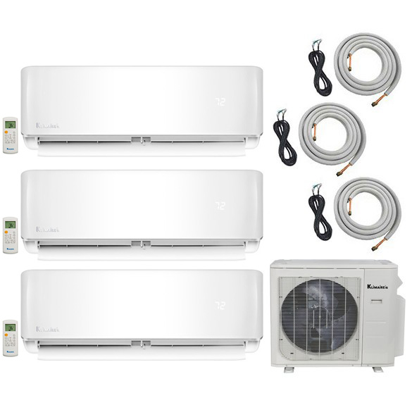 3-Zone Klimaire 20 SEER Ductless Multi-Zone Inverter Air Conditioner Heat Pump with 16 Ft Installation Kits HCKPI1663