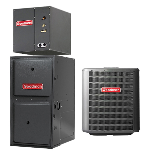 4 Ton Goodman 14 SEER Central Air Conditioner 100,000 BTU 96% Efficiency Gas Furnace Upflow System - Heat and Cool