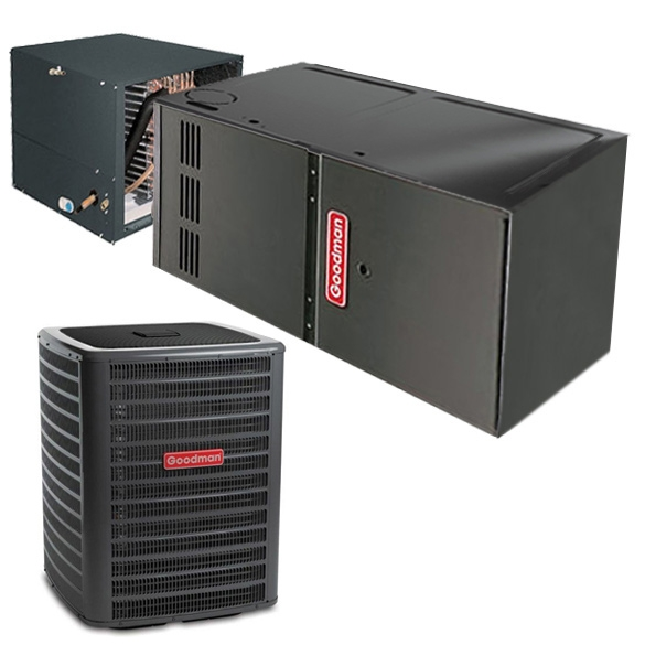 3.5 Ton A/C Goodman 16 SEER Central Air Conditioner 80,000 BTU 80% Efficiency Gas Furnace Horizontal System - Heat and Cool