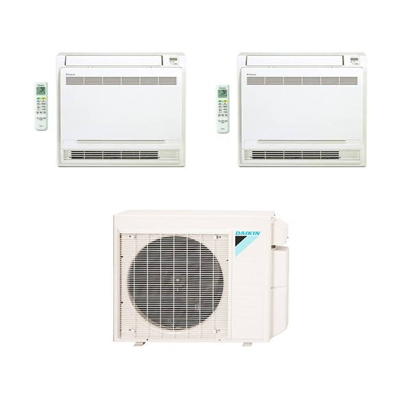 2-Zone Daikin 18.9 SEER MXS Series Floor Mounted Ductless Multi-Zone Inverter Air Conditioner Heat Pump (9K + 12K BTU)