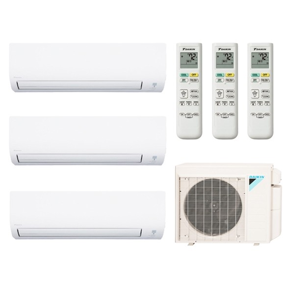 3-Zone Daikin 17.9 SEER Aurora Series LV Ductless Multi-Zone Inverter Air Conditioner Heat Pump (12K + 12K + 12K BTU)