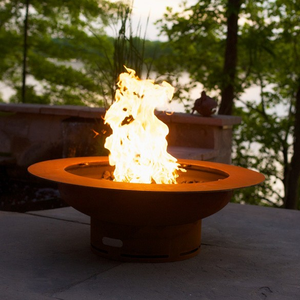 Saturn Outdoor Gas Fire Pit with Lid