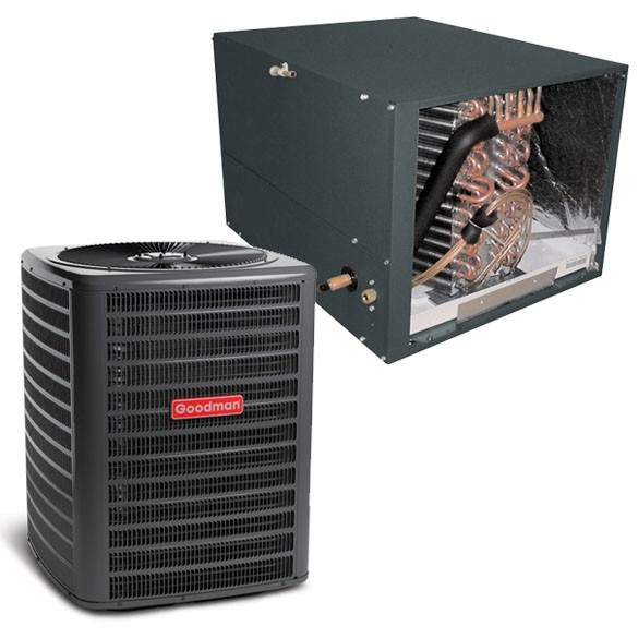 4 Ton Goodman 14.5 SEER Condenser GSX160481 and Cased Coil CHPF4860D6 Horizontal System with TXV