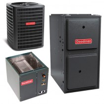 2 Ton Goodman 14 SEER Central Air Conditioner 80,000 BTU 96% Efficiency Gas Furnace Horizontal System