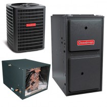 5 Ton Goodman 16 SEER Central Air Conditioner 120,000 BTU 96% Efficiency Gas Furnace Horizontal System