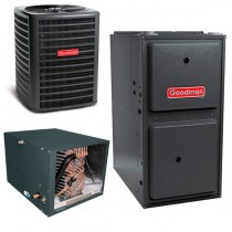 1.5 Ton Goodman 16 SEER Central Air Conditioner 80,000 BTU 96% Efficiency Gas Furnace Horizontal System