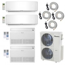 4-Zone Klimaire 21.5 SEER Ductless Multi-Zone Inverter Air Conditioner Heat Pump with 25ft Installation Kits