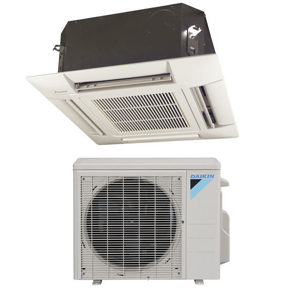 18,000 BTU Daikin 20 SEER Ceiling Cassette Ductless Mini-Split Inverter Air Conditioner Heat Pump System (230 Volt)