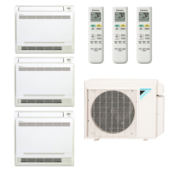3-Zone Daikin 17.7 SEER MXS Series Floor Mounted Ductless Multi-Zone Inverter Air Conditioner Heat Pump (9K + 9K + 9K BTU)