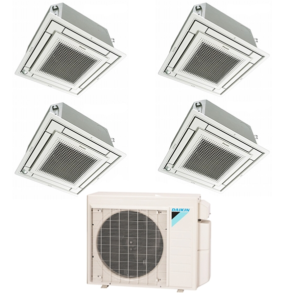 4-Zone Daikin 17.7 SEER MXS Series Vista Ductless Multi-Zone Inverter Air Conditioner Heat Pump (9k + 9K + 9K + 18K BTU)