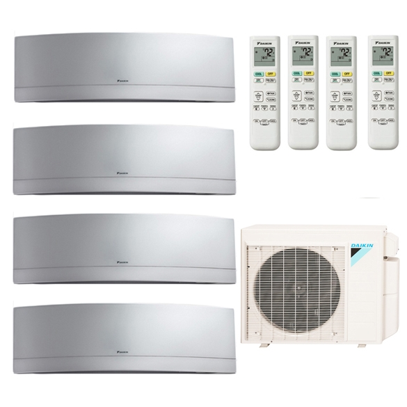 4-Zone Daikin 17.7 SEER MXS Series Emura Silver Ductless Multi-Zone Inverter Air Conditioner Heat Pump (9k + 9K + 9K + 18K BTU)