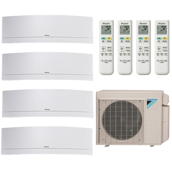 4-Zone Daikin 17.7 SEER MXS Series Emura White Ductless Multi-Zone Inverter Air Conditioner Heat Pump (9k + 9K + 9K + 18K BTU)