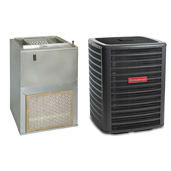 2 Ton Goodman 14 SEER Wall Mounted Air Handler (EEM motor) with 5 kW Heater Central Air Conditioner System HCGMC2747