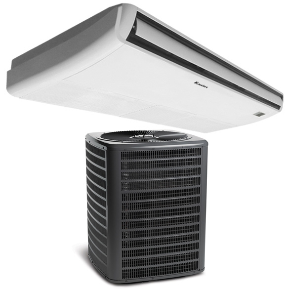 Klimaire 48K BTU Ductless Mini-Split Floor/Ceiling Fan Coil Unit with 42K BTU 16 SEER Air Conditioner HCKPI1664