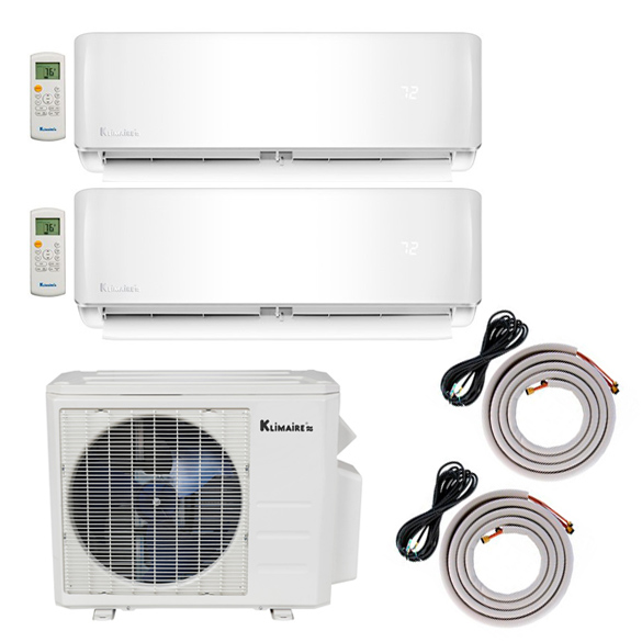 Klimaire's New Zoned High Efficiency Ductless System Boasts Innovative Design and Features Klimaire's new KMIR Series of Multi-Zone Ductless Air Conditioner Heat Pump outdoor units crank up energy savings and automation. The variable speed compressor with inverter technology puts finely-tuned temperature control at your fingertips through the full-function remote control. The two indoor components in this dual-zone system are 12,000 BTU KSIE models. Each KSIE wall unit individually heats and cools 550 square feet. Inverter technology matched with energy-saving reverse cycle heat pump design achieves 21 SEER efficiency in this two-zone ductless system. Indoor units are self-cleaning to clear dust and prevent mildew growth 12 fan speeds and dedicated dehumidification mode Turbo mode for fast heating and cooling Inverter technology distinguishes Klimaire's KMIR Multi-Zone Series performance by automatically increasing and decreasing air flow in each zone to keep the room temperature stab