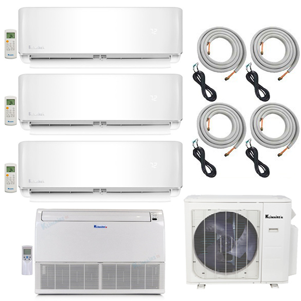 4-Zone Klimaire 16 SEER Ductless Multi-Zone Inverter Air Conditioner Heat Pump with 25 Ft Easy Connect Kits