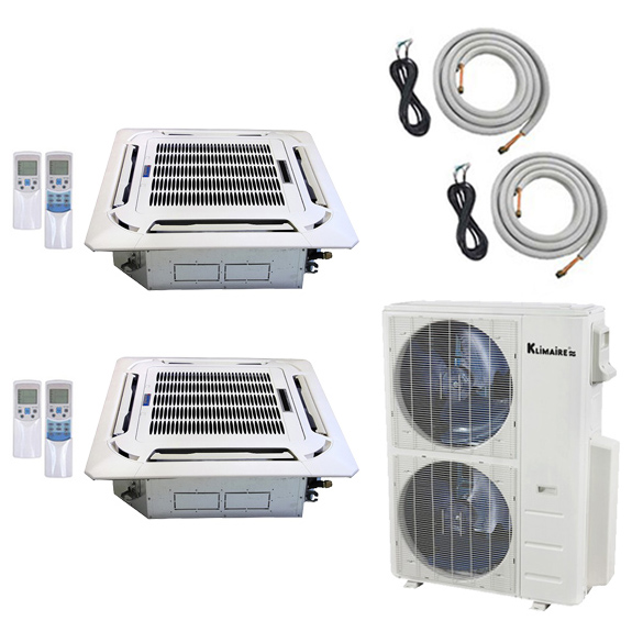 2-Zone Klimaire 21.5 SEER Ductless Multi-Zone Inverter Air Conditioner Heat Pump with 25 Ft Installation Kits HCKPI1835
