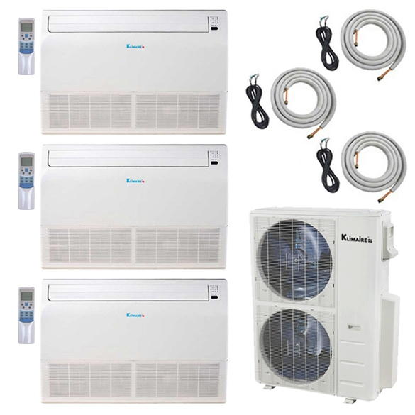 3-Zone Klimaire 21.5 SEER Ductless Multi-Zone Inverter Air Conditioner Heat Pump with 25ft Installation Kits HCKPI1952