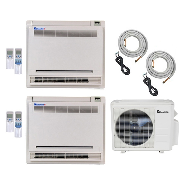 2-Zone Klimaire 22.5 SEER Multi-Zone Mini-Split Floor Mounted 2-Room Air Conditioner Heat Pump 18+18 with 25 ft. Installation Kit - Heat and Cool