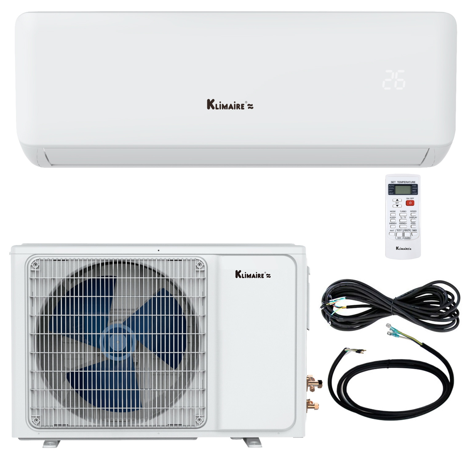 """New KSIA 17 SEER Ductless Mini-Split AC Heat Pump Delivers Comfort to Your Exact Specifications New for 2018, Klimaire has launched the KSIA Series of ductless mini split air conditioner heat pumps. Stand out features include comfort modes like """"Feeling"""" and turbo, along with energy efficient DC inverter technology. With the Feeling function activated, the temperature sensor moves from the wall unit to the remote control. For the ultimate in precision comfort, the sensor directs the mini split to adjust heating and cooling based on the temperature immediately surrounding anyone carrying the remote. 17 SEER DC inverter system saves energy and keeps temperature steady Full-function LED remote control Turbo mode cools or warms up the room fast KSIA's indoor unit is wall mounted and includes an easy-access washable filter and easy-wipe front panel. The matching outdoor unit combines heat pump and inverter technology for 17 SEER high efficiency cooling and up to 9 HSPF (10.3 COP) for heati"""