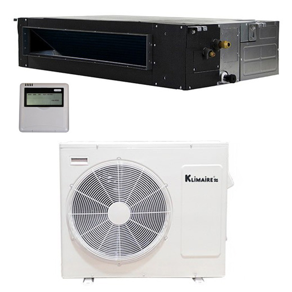 """Light Commercial Ductless Units Provide Turn-key Indoor comfort Klimaire ductless light commercial air conditioner heat pump systems allow HVAC installation in spaces where ductwork is impractical or impossible. Eliminating the need for ductwork is not the only advantage. Klimaire inverter-driven mini-splits also provide """"true zone control,"""" which means each indoor unit individually controls the temperature and humidity in the room where it's installed. The inverter-driven compressor also stabilizes room temperature and saves energy. By means of a microprocessor, inverter mechanics sense the indoor air temperature and adjust compressor speed to run in synch with the amount of heating or cooling required to maintain the temperature. In contrast, a standard on/off system runs at maximum speed until the set temperature is reached and then turns off. The temperature must change in order for the system to turn on again. This abrupt powering on and off of the system creates uncomfortable ho"""