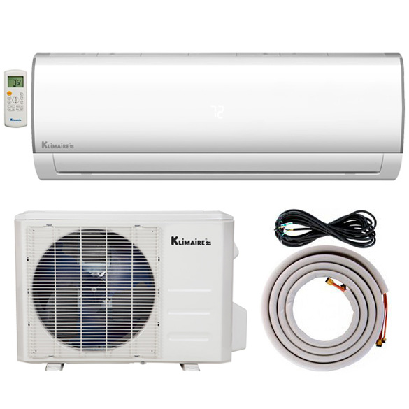 12,000 BTU Klimaire 16 SEER Ductless Mini-Split Inverter Air Conditioner Heat Pump WiFi Enabled System With 15 Ft Installation Kit (115 Volt) HCKPI1816