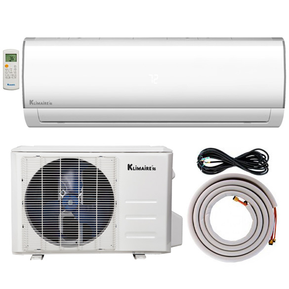 18,000 BTU Klimaire 15.5 SEER Ductless Mini-Split Inverter Air Conditioner Heat Pump WiFi Enabled System With 15 Ft Installation Kit (230 Volt) HCKPI1818