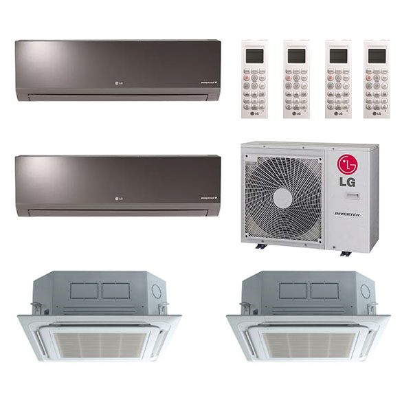 4-Zone LG 20.1 SEER Ductless Multi-Zone Inverter Air Conditioner Heat Pump (9K + 9K + 12K + 18K BTU)