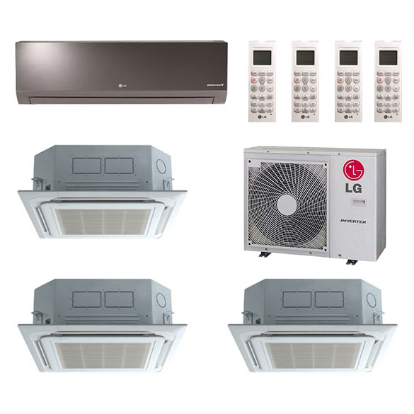 4-Zone LG 20.1 SEER Ductless Multi-Zone Inverter Air Conditioner Heat Pump (9K + 9K + 9K + 18K BTU)