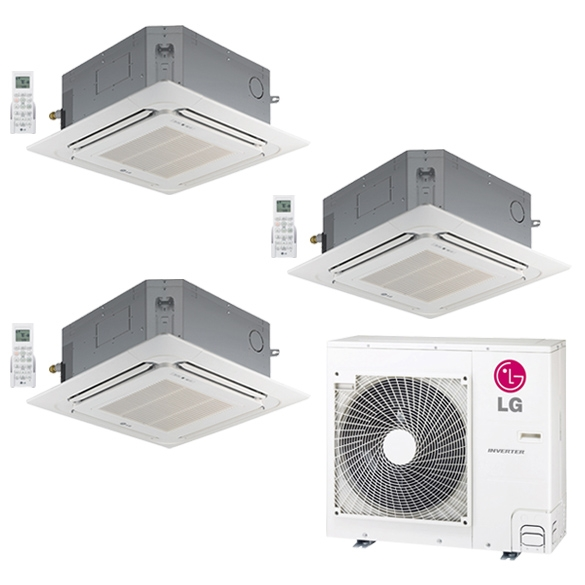 Inverter Split Air Conditioning Systems LG's Four-Way Ceiling Cassette systems offer customized comfort with many user-adjustable settings. The indoor unit case is ceiling recessed, while the off-white architectural grille (required; sold separately) is flush mounted, providing a clean look to the room. These systems are best suited in light commercial applications or large, open spaces. The ceiling cassette indoor unit is a useful alternative when wall space is limited. Quality Commitment LG is committed to the success of air-conditioning projects. We provide technical support during installation, and offer a variety of classes designed for installers and service providers. Classes are conducted at LG's training centers and in field locations at various times throughout the year and upon special request. How LG Multi Zone systems work LG heat pump systems consist of three basic components: An inverter (variable speed) outdoor heat pump, stylish and quiet indoor units, and a conduit w