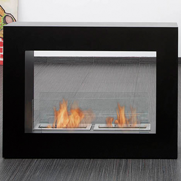 Bio-Blaze Qube Large Black Steel Ventless Ethanol Fireplace