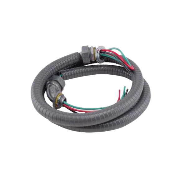 "SRTSWP126: 1/2"" ELECT WHIP Liquid-tight flexible conduit system. Air conditioner whips include one (1) straight, one (1) 90-degree connector and two (2) reducing washers. 1/2 inch X 6ft. Liquid-tight flexible Electrical Whip. Electric Whips are typically used to connect the Central Air Conditioner Compressors to the AC disconnect box."