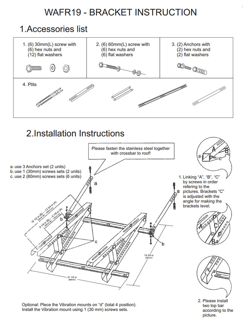 Rooftop Mount Bracket for AC Outdoor Unit | Heat & Cool
